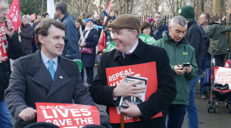 Irish National Party leaders Justin Barrett and James Reynolds at the 2018 March for Life in Ireland.