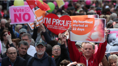 Anti-abortion protesters at a rally in Dublin, 12 May 2018