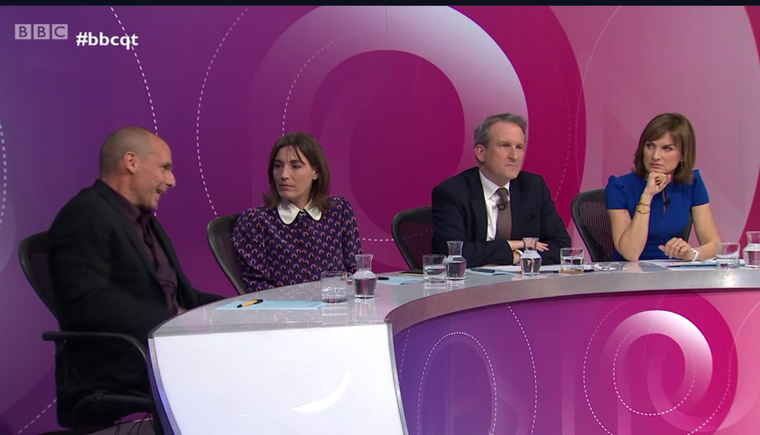 Screenshot: Yanis Varoufakis on Question Time in Sheffield, March 28, 2019.