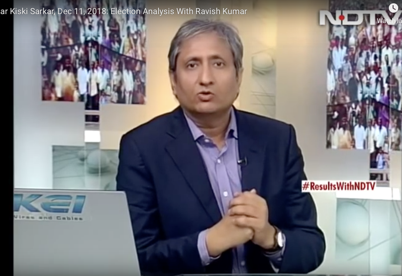 Screenshot: Elections analysis with Ravish Kumar on NDTV. December 2018.