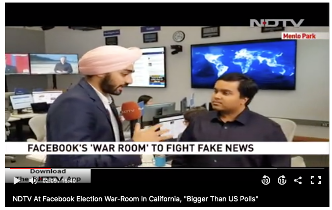 Facebook's war-room detecting fake news in the Indian elections in partnership with India's Elections Commission.