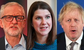 Jeremy Corbyn, Jo Swinson, Boris Johnson November 2019