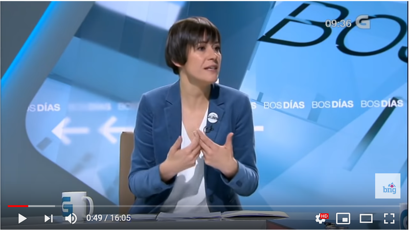 Ana Pontón on Galician TV, February 2019.