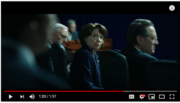 Annette Bening as Senator Dianne Feinstein who called for an investigation of the CIA's Detention and Interrogation Program.