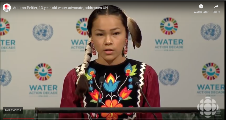 Autumn Peltier, 13-yr old water advocate addresses UN, 2017.