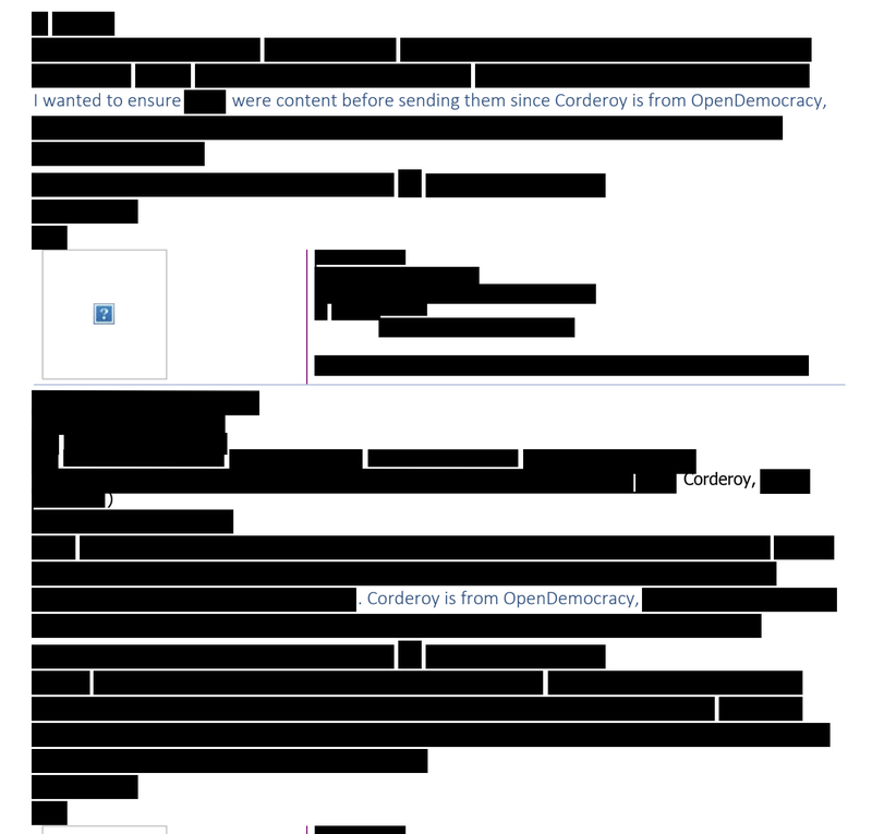 Redacted government correspondence about Jenna Corderoy