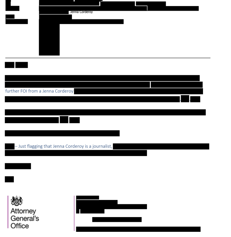 Redacted government correspondence about Jenna Corderoy (Attorney General's Office)