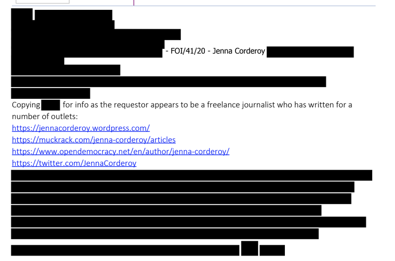 Redacted government correspondence about Jenna Corderoy 3