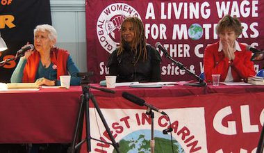 From left to right, Selma James, Margaret Prescod and Professor Alison Wolf at Global Women's Strike conference.
