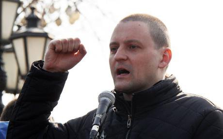 Sergei Udaltsov gives a speech at a protest in 2011.