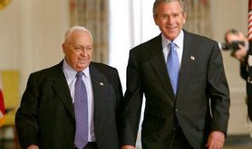 U.S. President George W. Bush and Israeli Prime Minister Ariel Sharon prior to talking with at White House, April 2004