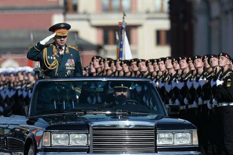 Russian Defence Minister Shoigu resplendent with his medals and orders, 2014 Victory Day parade, Red Square Moscow. kremlin.ru