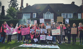 Sister Supporter campaigners outside the MSI Reproductive Choices clinic in Ealing, west London in 2016