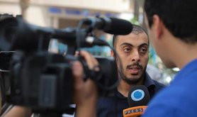 Sofiane Chourabi on World Press Freedom Day 2013, at a rally organised by the Tunisian Union for Journalists. Rabii Kalboussi