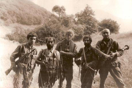 Nagorno-Karabakh forces pose with Kalashnikovs in 1992.