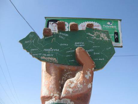 A sculpture advocating the independence of the disputed territory of Somaliland.