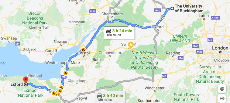 Google Maps route from University of Buckingham to Exford