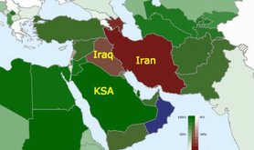The Sunni/Shia breakdown by country. Sunni: Green. Red: Shia.