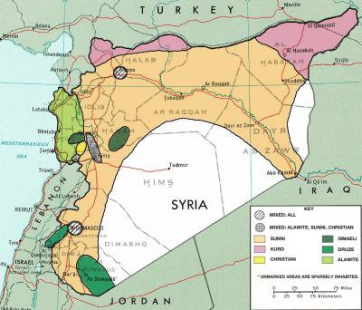 Sectarian map of Syria, typically found next to articles by Middle East experts. Wikimedia commons.