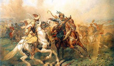 A Oil painting of a Crimean Tatar engaging Polish cavalry on horseback.