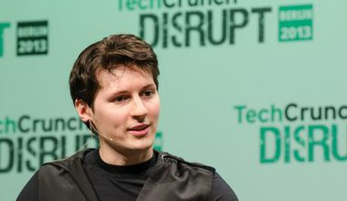 Pavel Durov at a techcrunch meeting. He is a young looking man with black hair.