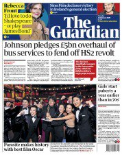 "The Guardian front page, 11 February 2020, headlined ""Johnson pledges £5bn overhaul of bus services to fend off HS2 revolt"""