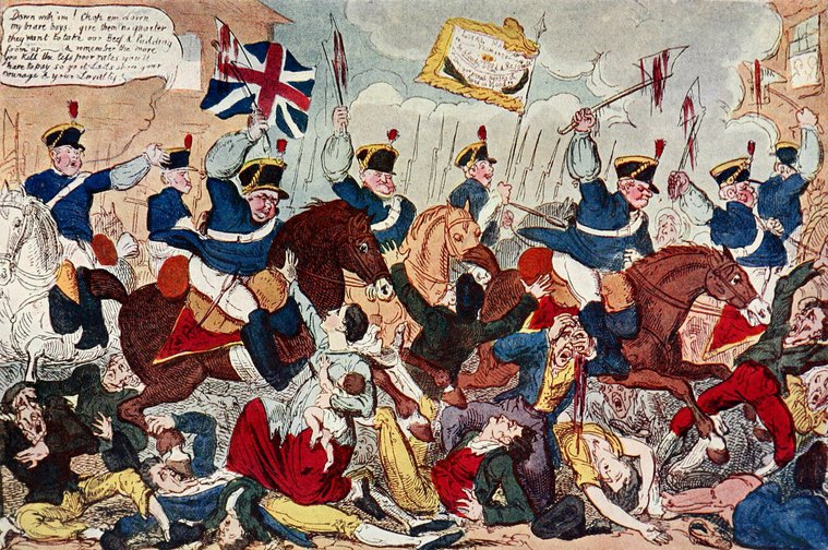 "Cartoon of ""The Massacre of Peterloo or Britons Strike Home"", by George Cruikshank"