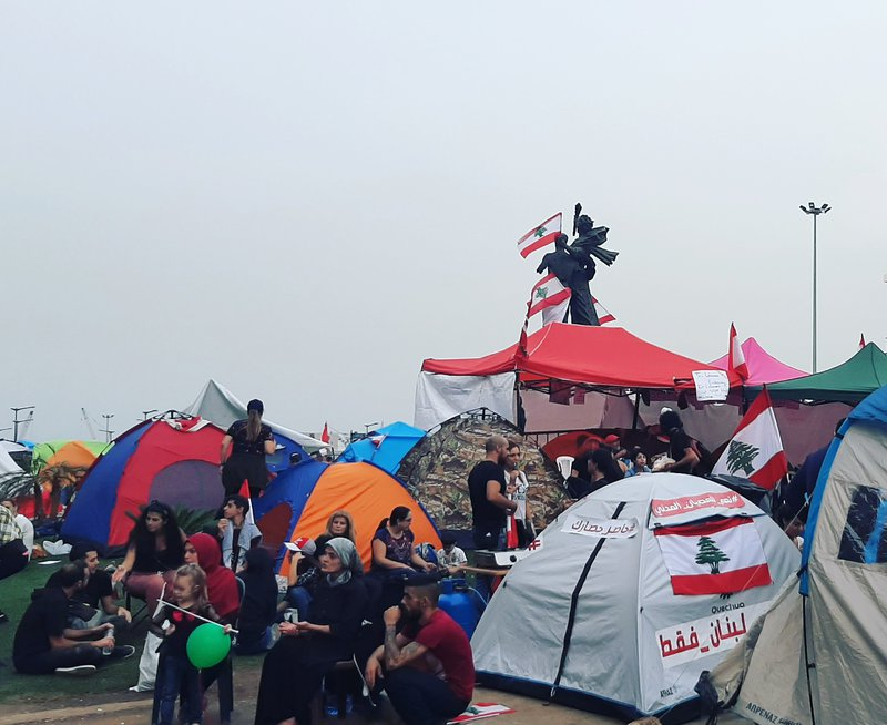 The camp in Martyrs' Square (Beirut) - October 27 2019.jpg