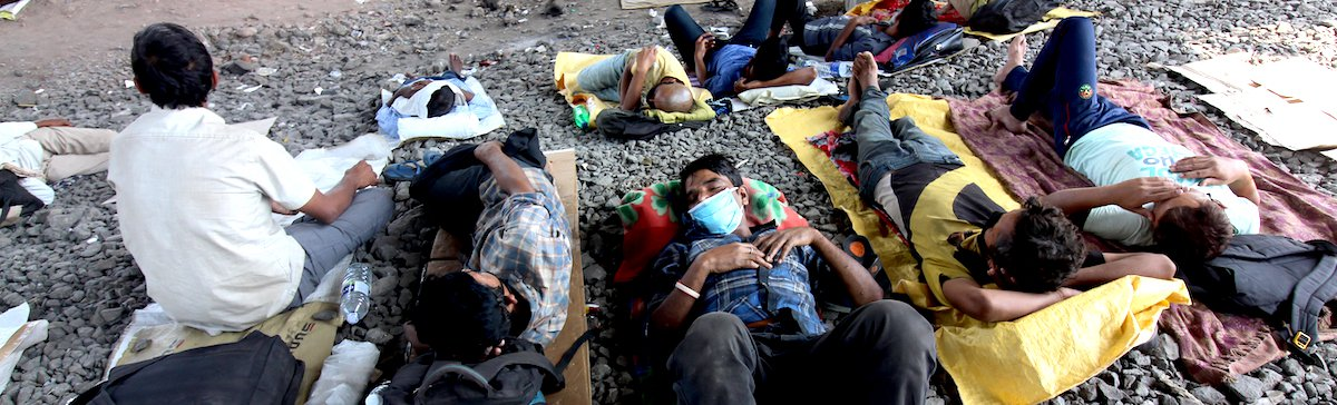 Three Week Lockdown In Mumbai  Migrant workers rest beneath a flyover in Mumbai, India on April 01, 2020. India continues in nationwide lockdown to control the spread of the Coronavirus (COVID-19) pandemic.