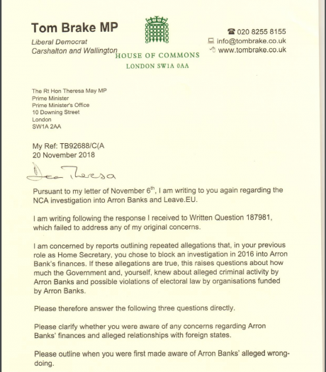 Tom Brake's letter to Theresa May, dated 20 November 2018