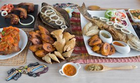 Traditional Cameroonian food in women-owned restaurants