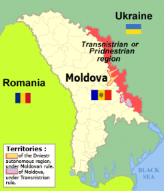 Map of Transnistria, the breakaway republic and de facto state sandwiched between Moldova and Ukraine, 2008. cc Serhio.