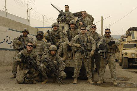 U.S. Army soldiers pose for a photo in Baghdad, Iraq, 2008. Jason bAILEY:Flickr. Some rights reserved.jpg