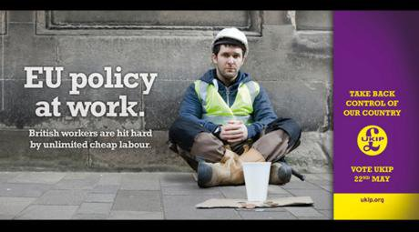 A UKIP poster shows a British white man begging in the street.