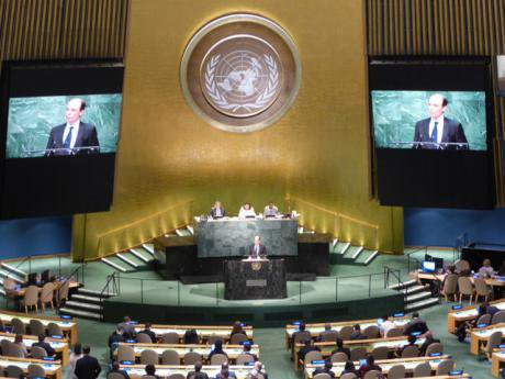 Austrian Vice Minister Alexander Marschik speaks at the UN