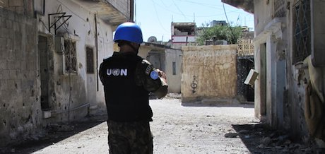A UN Peacekeeper in Homs, Syria. Demotix/Jonathan Mitchell. All rights reserved.