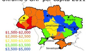 Map of Ukraine showing hot GRP varies drastically across regions, with the industrialised east richer than the west.