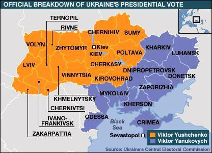 Ukrainian election results - map