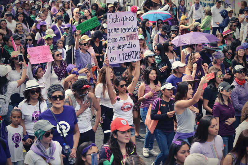 Mexico City, Mexico, 8 March 2020. Thousands of women take part in a demonstration against gender violence, to commemorate International Women's Day