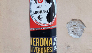 Anti-abortion and far-right stickers in Verona.