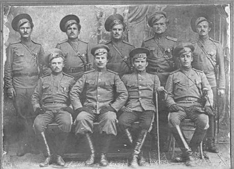 A group of Orenburg Cossacks posing for a picture in military gear in 1912.