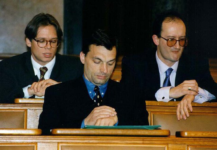 Viktor Orban in the Hungarian Parliament, 1997.