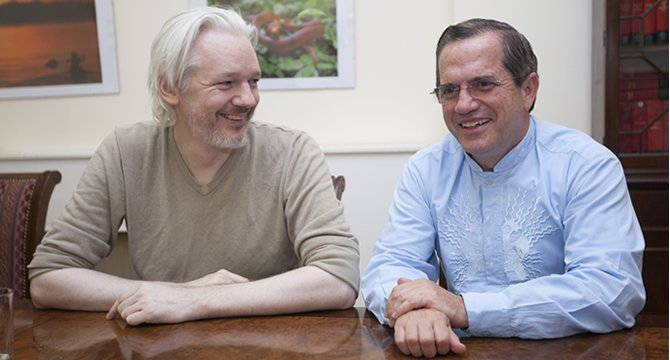 Julian Assange and Ricardo Patiño in Ecuador's embassy in London, on the second anniversary of his arrival at the legation.