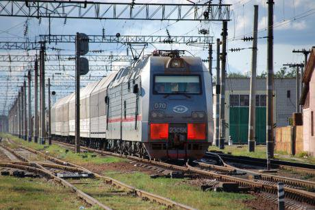 A Train manufactured by Transmashholding, a joint venture of Makhmudov, Russian Railways and French company Alstom.