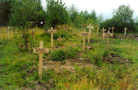 Crosses at the camp's cemetery