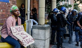 Protest in South Africa against sexual crimes in 2019. Guy Oliver. Alamy Stock Photo. All rights reserved.