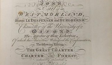 William Blackstone. The Great Charter and Charter of the Forest (1st ed.,1759, dedication).