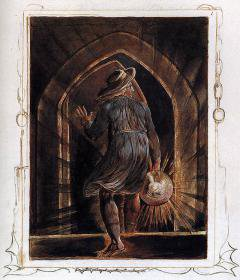 Los Entering the Grave by William Blake (1804).