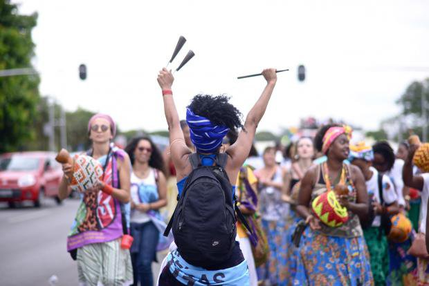 Women in colourful clothing at the Black Women's March in Brasilia
