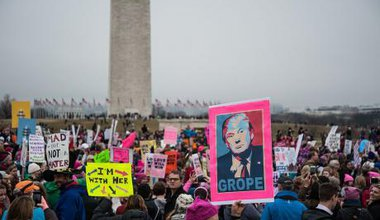 Demonstrators during the Women's March on Washington in January 2017.